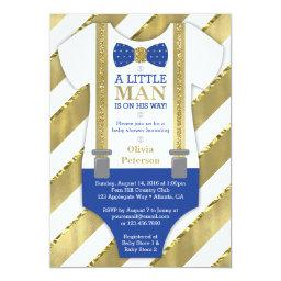 Little Man Baby Shower Invitation, Blue, Faux Gold