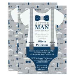 Little Man  Invitation, Navy Blue, Gray