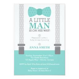 Little Man  Invitation, Teal Blue, Gray