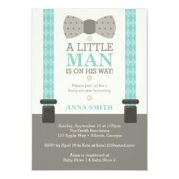 Little Man  Invitation, Turquoise