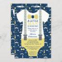 Little Man Baby Shower Invitation, Yellow, Blue Invitation