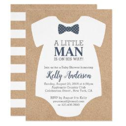 Little Man Boy Baby Shower Invitation - Kraft