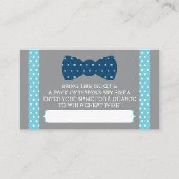 Little Man Diaper Raffle Ticket, Baby Blue, Navy Enclosure