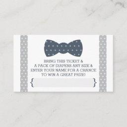 Little Man Diaper Raffle Ticket, Navy Blue, Gray Enclosure Card