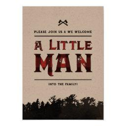 Little Man Plaid Woodland Couples Shower Invite