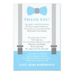 Little Man Thank You , Baby Blue, Gray Invitation