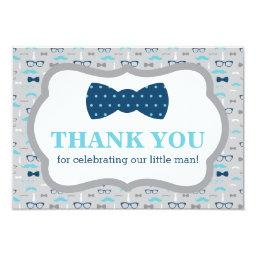 Little Man Thank You , Bow Tie, Blue, Gray