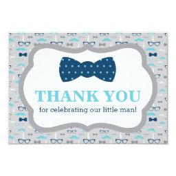 Little Man Thank You , Bow Tie, Blue, Gray Invitation