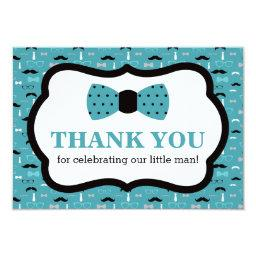 Little Man Thank You , Bow Tie, Teal, Black