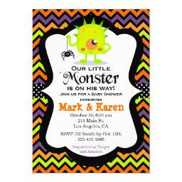 Little Monster Halloween Baby Shower Invitations