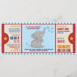 Little Peanut Elephant Ticket Couples Baby Shower Invitation