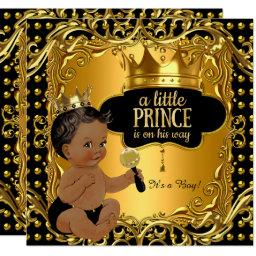Little Prince Baby Shower Gold Rattle Ethnic