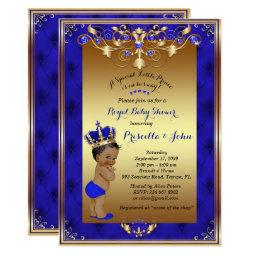 Little Prince Baby Shower Invitation, Royal Blue