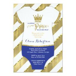 Little Prince Baby Shower Invite, Faux Glitter