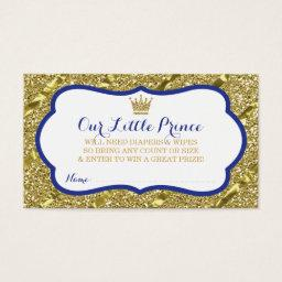 Little Prince Diaper Raffle Ticket, Faux Glitter
