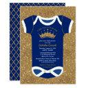 Little Prince Navy Blue & Royal Gold Baby Shower Invitations
