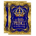 Little Prince On His Way Baby Shower Gold Blue Invitations