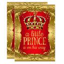 Little Prince On His Way Baby Shower Gold Red Invitation