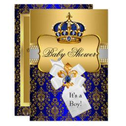 Little Prince Royal Blue Crown Baby Shower Invite