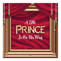 Little Prince Royal Red Boy Baby Shower Invitation