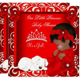 Little Princess Baby Shower Girl Red Damask