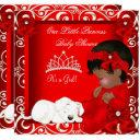 Little Princess Baby Shower Girl Red Damask Invitations