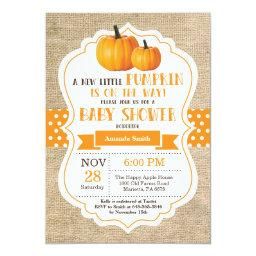 Little Pumpkin Baby Shower Invitation  Burlap