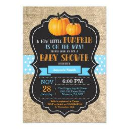 Little Pumpkin Baby Shower Invitationss Burlap