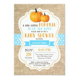 Little Pumpkin  Invitation  Burlap