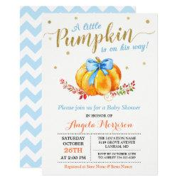Little Pumpkin Boy Gold Blue Fall Baby Shower