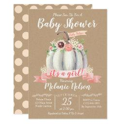 Little Pumpkin Fall Baby Shower Invitations Girl