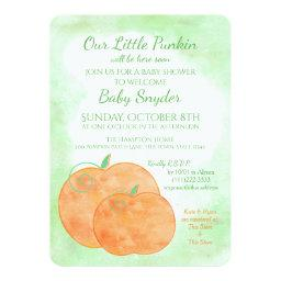 Little Pumpkin Watercolor Halloween Baby Shower