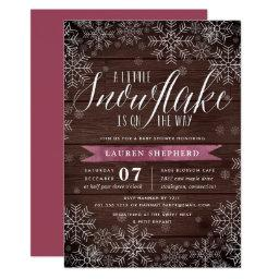 Little Snowflake Plum Rustic Wood Baby Shower Invitation