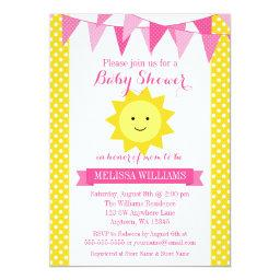Little Sunshine Pink Yellow Bunting Baby Shower