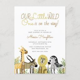 Little Wild One Safari Animals Baby Shower Invitation Postinvitations