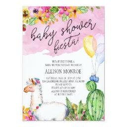 Llama And Cactus Baby Shower Fiesta Invitation