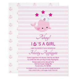 Long Distance Nautical Pink Whale Girl Baby Shower Invitation