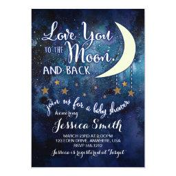 Love You To The Moon & Back Baby Shower Invitations