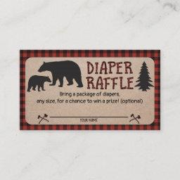 Lumberjack Baby Shower Diaper Raffle Invitations Bear