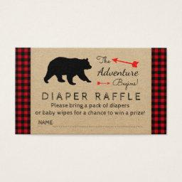 Lumberjack Buffalo Plaid Boys Diaper Raffle Ticket