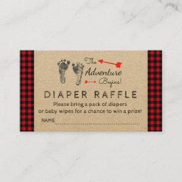 Lumberjack Buffalo Plaid Boys Diaper Raffle Ticket Enclosure