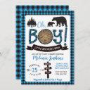 Lumberjack Flannel Boy Baby Shower Invitation Bear