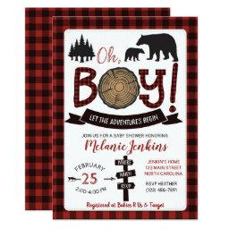 Lumberjack Flannel Boy Baby Shower  Bear
