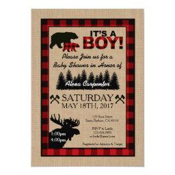 Lumberjack Little Hunter Baby Shower Invitations