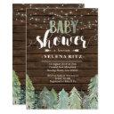 Lumberjack Pine Trees Boy Baby Shower Invitation