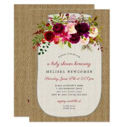 Mason Jar Burgundy Floral Baby Shower Invitationss