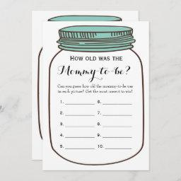 Mason Jars 2x Baby Shower Games- How Old | Advice Invitation