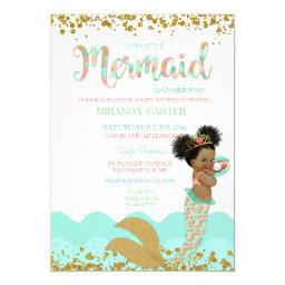Mermaid Baby Girl African American Peach Mint Gold