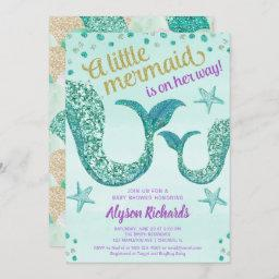 Mermaid Baby Shower Girl, Teal Gold Glitter Tail Invitation