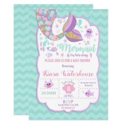Mermaid Baby Shower Invitation Baby Girl Party
